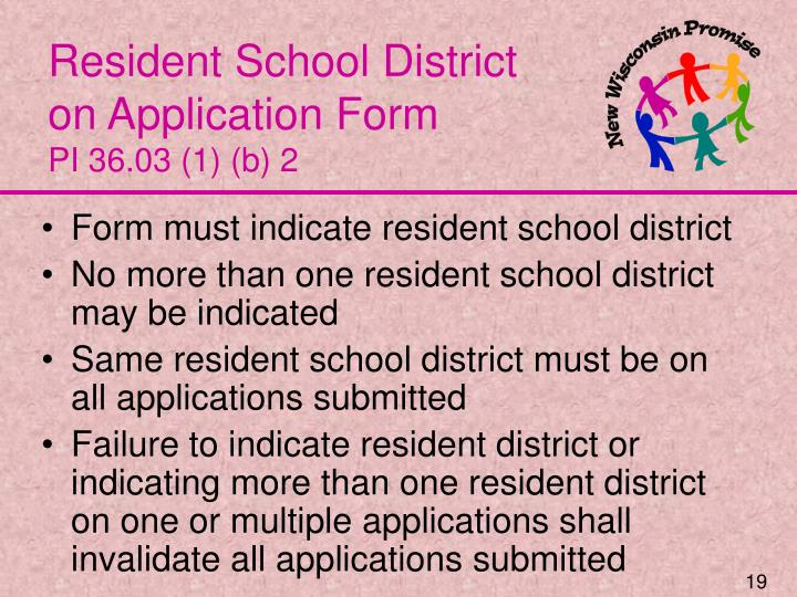 Resident School District on Application Form