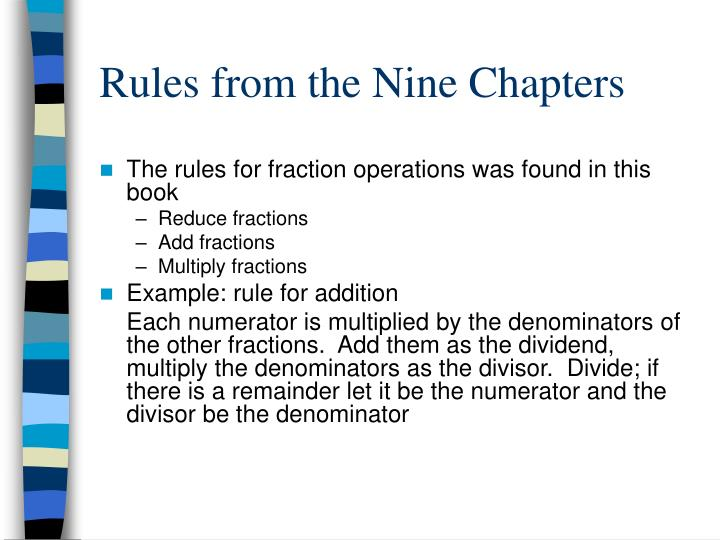 Rules from the Nine Chapters