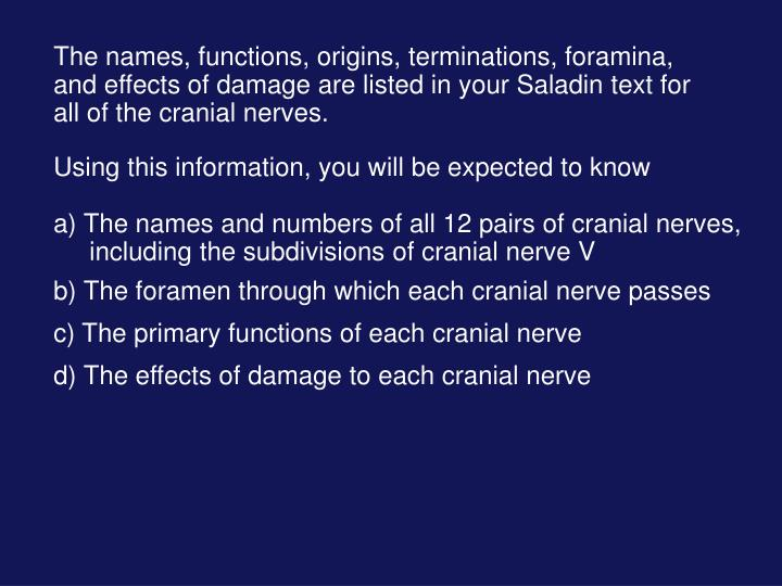 The names, functions, origins, terminations, foramina, and effects of damage are listed in your Saladin text for all of the cranial nerves.