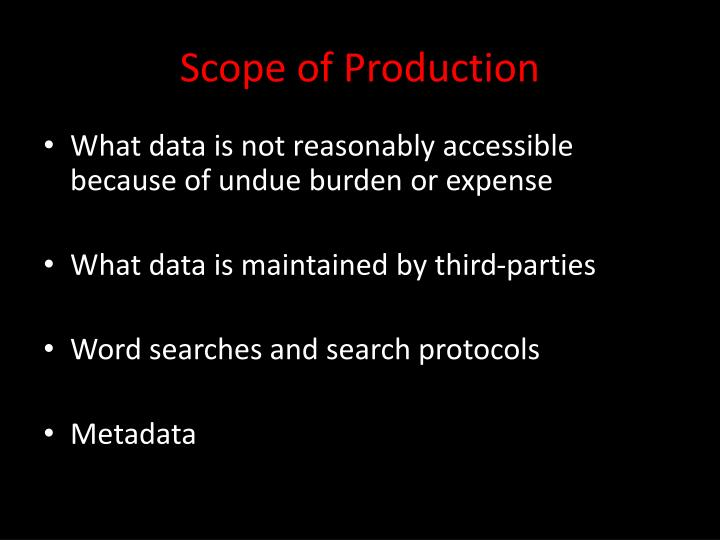 Scope of Production