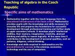 teaching of algebra in the czech republic2