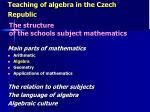 teaching of algebra in the czech republic4