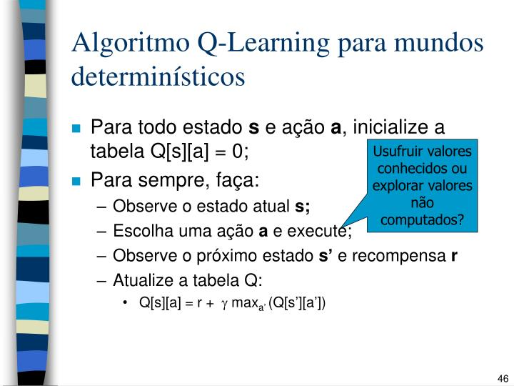 Algoritmo Q-Learning para mundos determinísticos