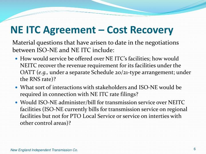 NE ITC Agreement – Cost Recovery