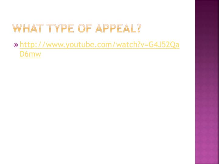 What type of appeal?