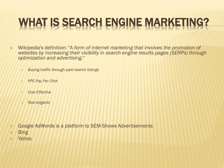 What is search engine marketing