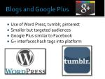 blogs and google plus