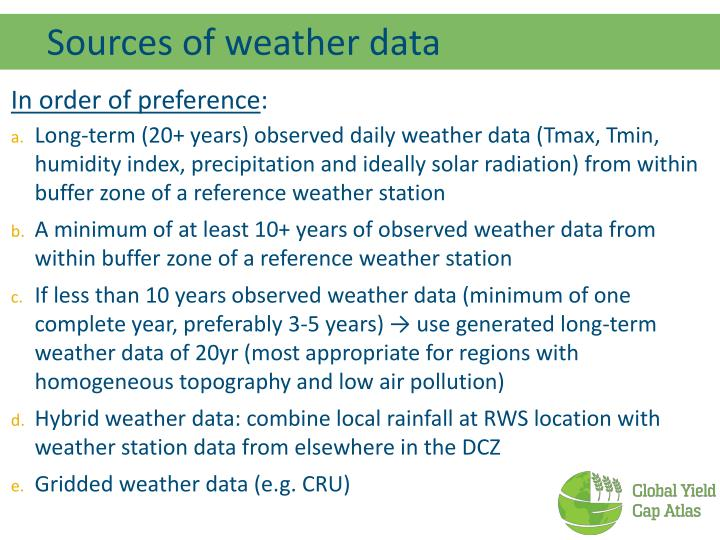 Sources of weather data