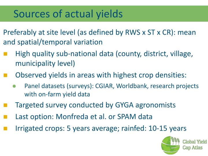 Sources of actual yields