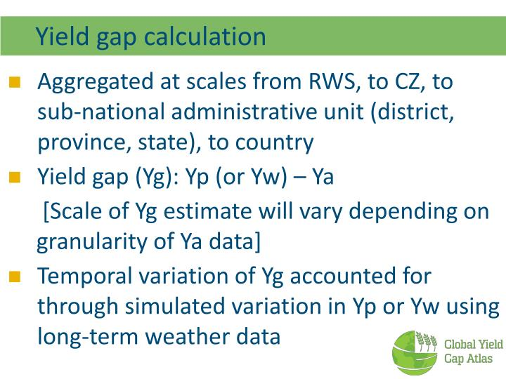 Yield gap calculation