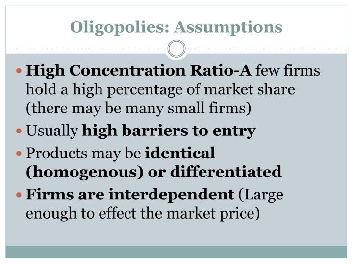 Oligopolies: Assumptions