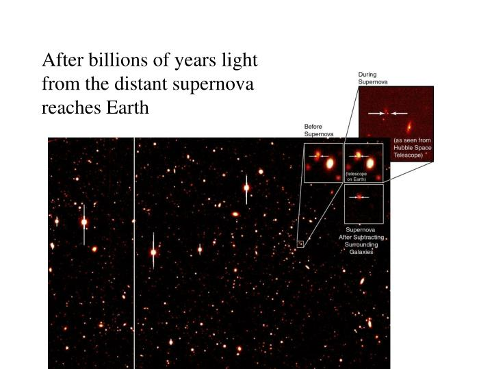 After billions of years light from the distant supernova reaches Earth