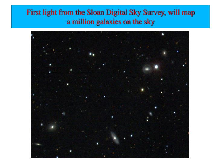First light from the Sloan Digital Sky Survey, will map
