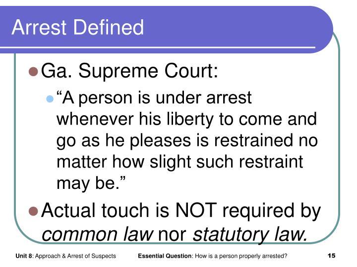 Arrest Defined