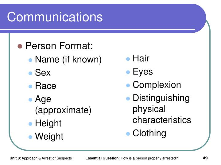 Person Format: