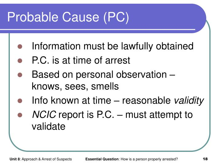 Probable Cause (PC)