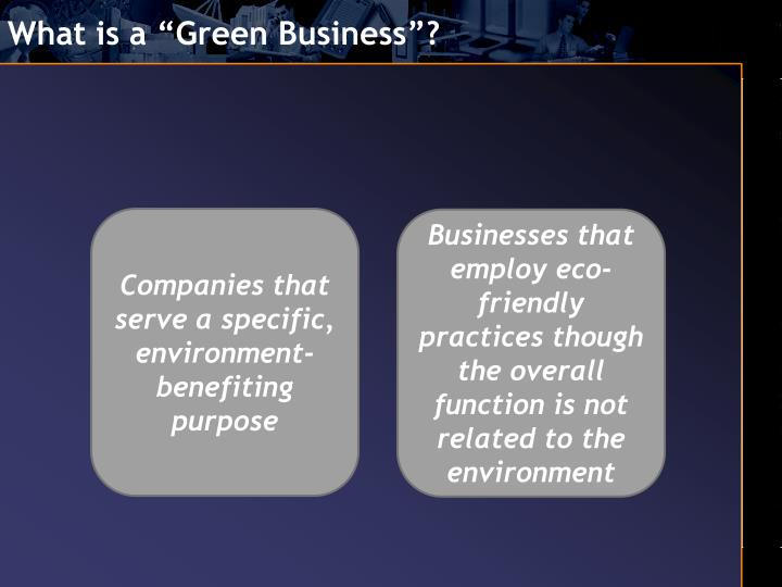 "What is a ""Green Business""?"