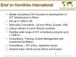 brief on kemilinks international