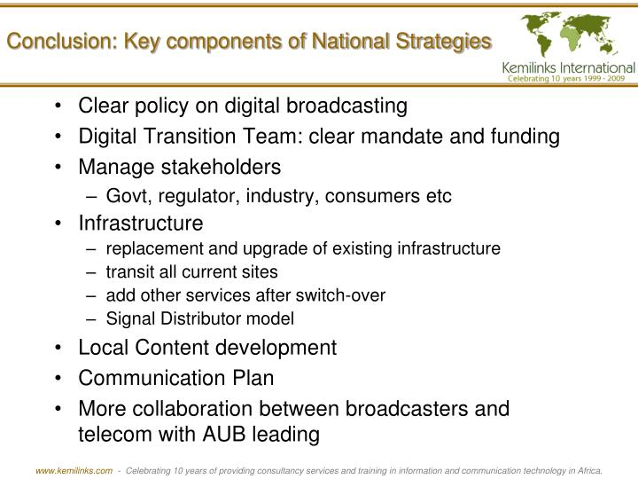 Conclusion: Key components of National Strategies