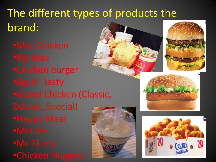 The different types of products the brand