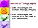 methods of timing analysis