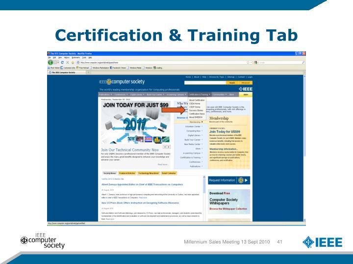 Certification & Training Tab