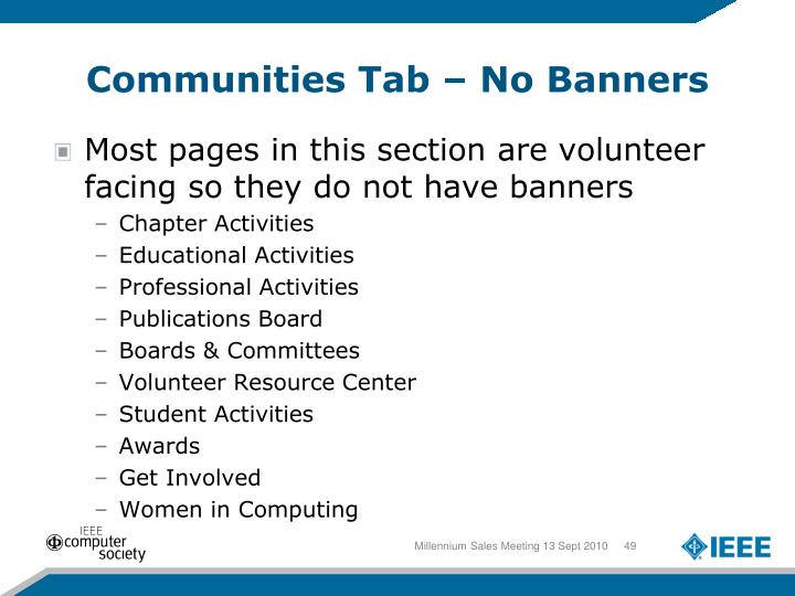 Communities Tab – No Banners
