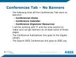 conferences tab no banners