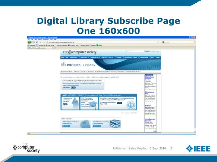 Digital Library Subscribe Page