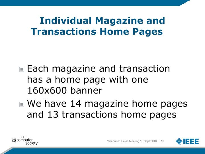 Individual Magazine and Transactions Home Pages