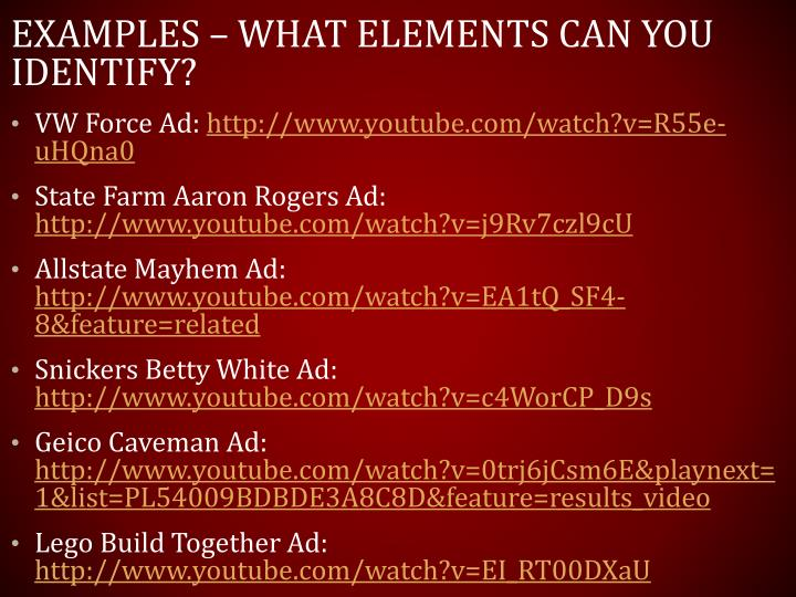 Examples – what elements can you identify?