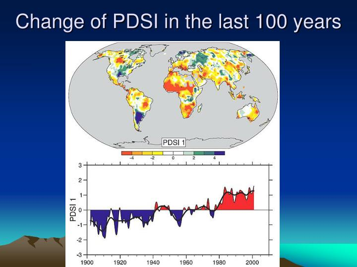 Change of PDSI in the last 100 years