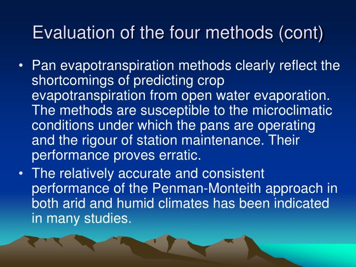 Evaluation of the four methods (cont)
