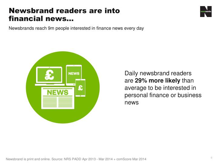 Newsbrand readers are into financial news…