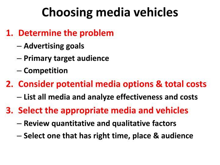 Choosing media vehicles