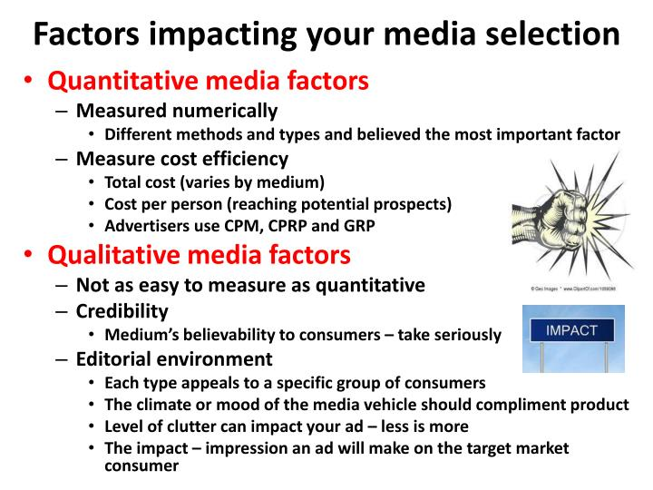 Factors impacting your media selection