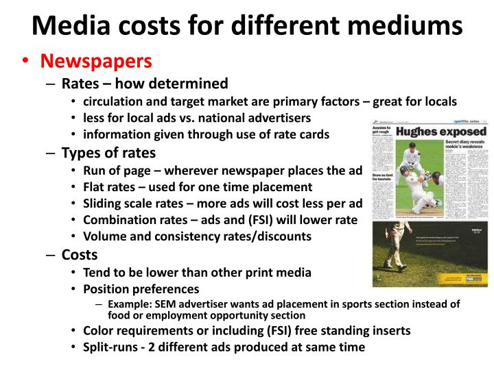 Media costs for different mediums