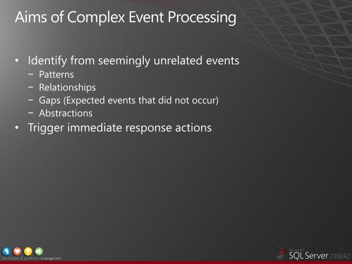 Aims of Complex Event Processing