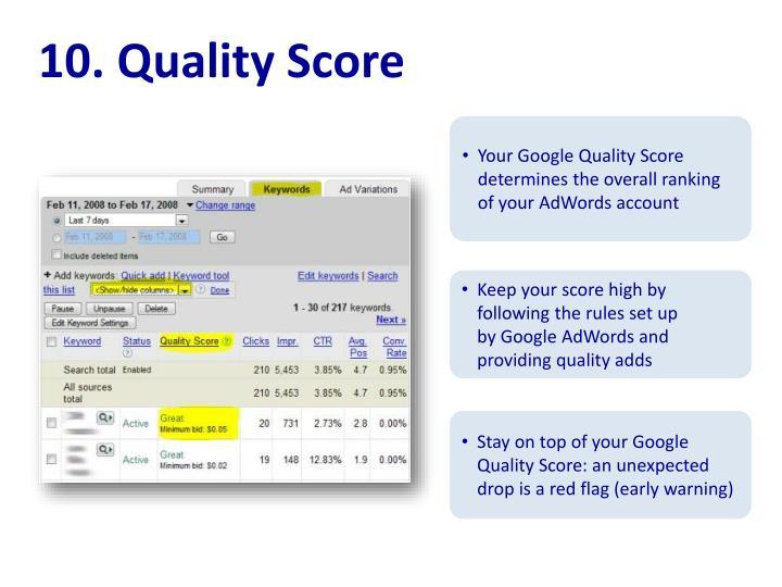 10. Quality Score