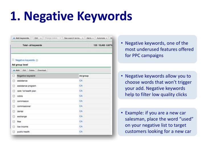 1. Negative Keywords