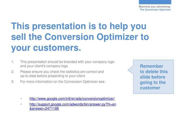 This presentation is to help you