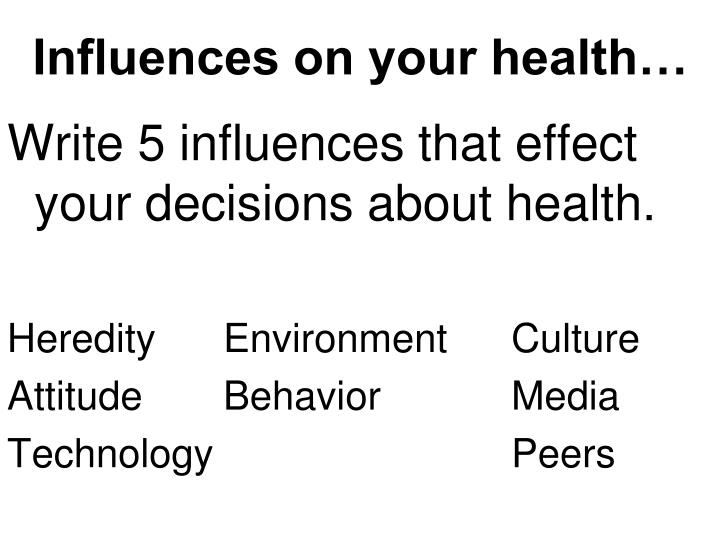 Influences on your health…