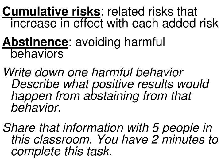 Cumulative risks