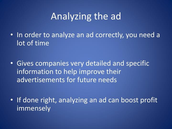 Analyzing the ad