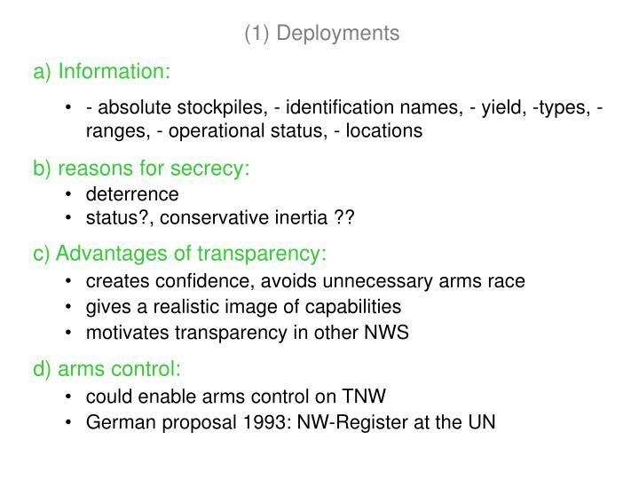 (1) Deployments