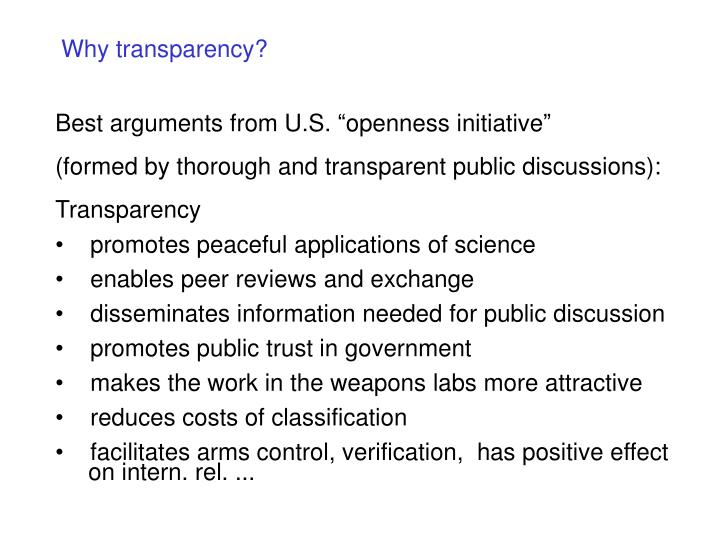 Why transparency?