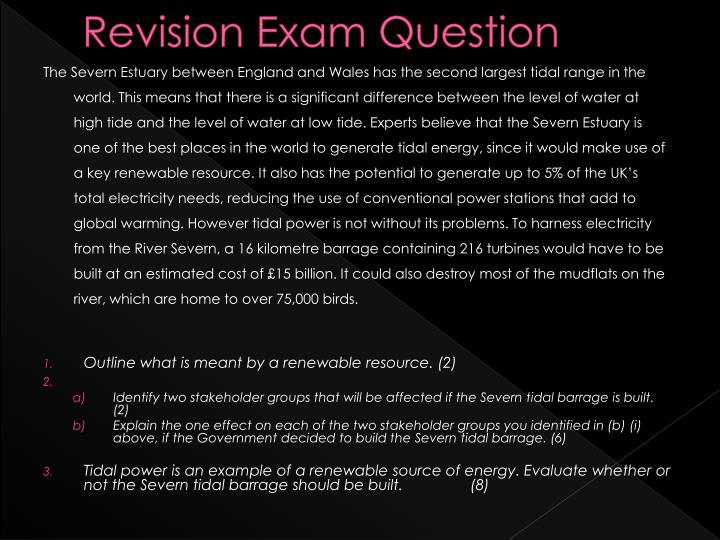 Revision Exam Question