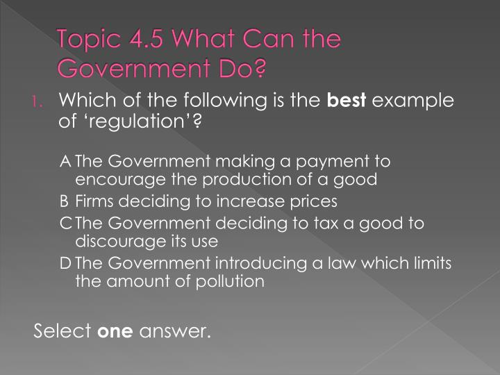 Topic 4.5 What Can the Government Do?