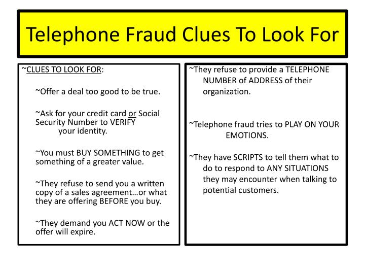 Telephone Fraud Clues To Look For