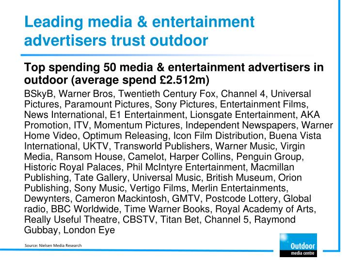 Leading media & entertainment advertisers trust outdoor